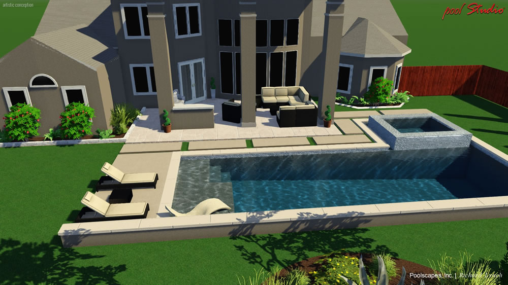 Project gallery completed swimming pools spas and for Pool design 3d
